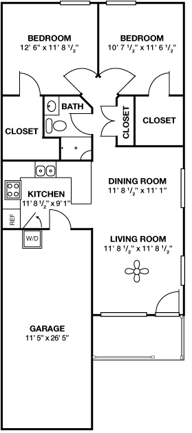 Two Bedroom • One Bath • With Garage
