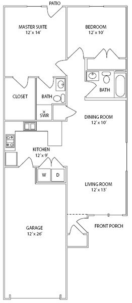 Two Bedrooms • Two Baths • One Car Attached Garage • Interior Unit