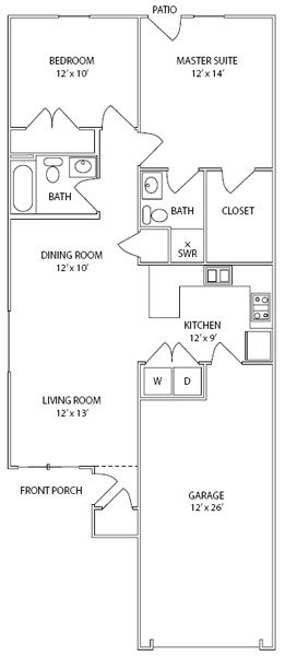 Two Bedrooms • Two Baths • One Car Attached Garage • End Unit